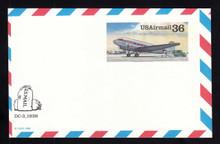 UXC24 UPSS# SA23 36c DC-3 Mint Postal Card, MISCUT