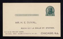 UX27D UPSS# S39 1c Thomas Jefferson, Dark Green on Grayish Unused Postal Card