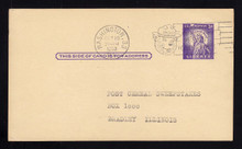 "UX46a UPSS# S63a 3c Statue of Liberty, Missing ""I"" Used Postal Card, UL Corner Bend"