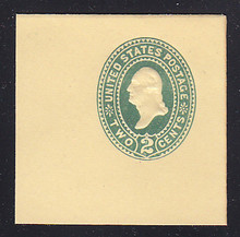 "U312 2c Green on Amber, die 2, CAP ON ""2"", Mint Full Corner, 50 x 50"