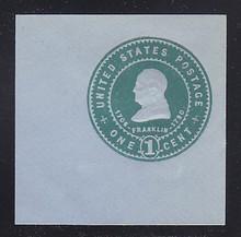 U382 1c Green on Blue, Mint Cut Square, 47 x 47