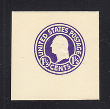 U481b 1 1/2c Purple (error) on White, die 1, Mint Cut Square, 45 x 45