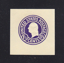 U481b 1 1/2c Purple (error) on White, die 1, Mint Cut Square, 40 x 40