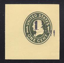 U491 1 1/2c on 1c Green on Amber, die 4, Mint Cut Square, 47 x 47