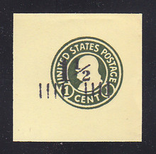U496b 1 1/2c on 1c Green on Amber, die 4, Mint Cut Square, 47 x 47