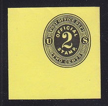 UO1 2c Black on Lemon Mint Cut Square, 50 x 50