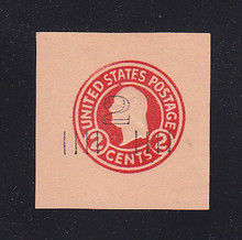 U456a 2c on 2c Carmine on Oriental Buff, die 5, Mint Cut Square, 41 x 42