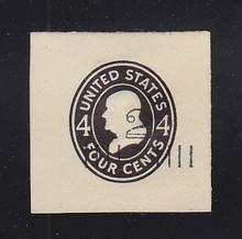 U463A 2c on 4c Black on White, Mint Cut Square, 43 x 43