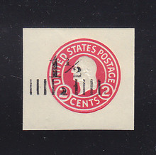 U502d 1 1/2c on 2c Carmine on White, die 8, Mint Cut Square, 40 x 37