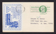 UX68 UPSS# S85 7c Postal Card Used w/Tied Philadelphia Stamp Show Label