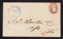 U1 UPSS# 2a 3c Red on White, die 1, Used Entire, Watermark 1a Horizontally Laid, Wetumpka, AL