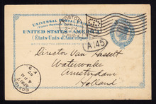 UX13 UPSS# S16 2c Blue Liberty Head, International Used Postal Card, Earliest Reported Postmark, April 17, 1897