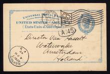 UX13 UPSS# S16 2c Blue Liberty Head, International Used Postal Card, Earliest Reported Postmark, April 17, 1897