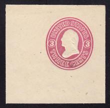 U34 3c Pink on White, Mint Cut Square, 50 x 50