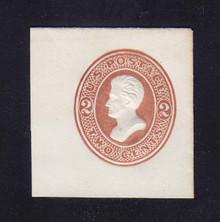 U132 2c Brown on White, die 3, Mint Cut Square, 40 x 42