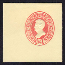 U143 2c Vermillion on Amber, die 5, Mint Full Corner, 50 x 50