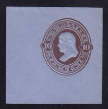 U192 10c Brown on Oriental Blue, die 2, Mint Cut Square, 47 x 47