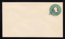 U508A, UPSS #3185-14 1 1/2c on 1c Green on White, Mint Entire
