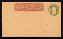U18a UPSS # 28a 10c Yellow Green on Buff, Mint Entire, Wells Fargo Imprint