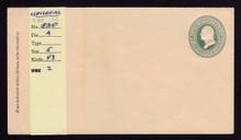 U161 UPSS # 380 3c Green on Cream, die 1, Centennial, Mint Entire, Tone Line