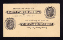 UX14a UPSS# S17b 1c Thomas Jefferson, Black on Buff Mint Postal Card, Double Impression/1 Inverted