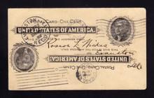 UX14a UPSS# S17b 1c Thomas Jefferson, Black on Buff Used Postal Card, Double Impression/1 Inverted