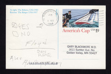 UX163 UPSS# S176 19c America's Cup Picture Used Postal Card