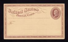 UX3 UPSS# S2d 1c Liberty Head, Small Watermark, Reversed Watermark, Mint Postal Card