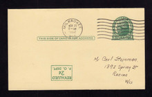 UX41a UPSS# S57f Revalued 2c on 1c UX27 Thomas Jefferson, Inverted Surcharge, Press Printed, Used Postal Card
