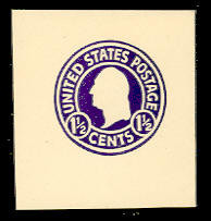U481b 1 1/2c Purple (error) on White, die 1, Mint Full Corner