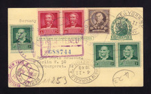 UX27 UPSS# S37Aa 1c Postal Card, REGISTERED to Germany 1940 Uprated with Famous Americans