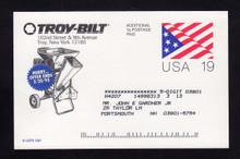 """UX153 UPSS# S166 19c  Troy-Bilt 1c Revalue """"ends 2/20/95"""""""