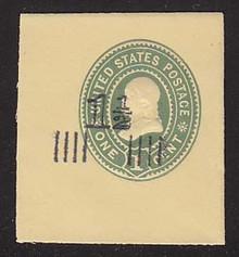 U508 1 1/2c on 1c Green on Amber, Mint Full Corner, 42 x 45