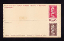 UPSS # MR1E-Pa Brooks Essay Paid Reply Card, Red/Brown on Buff