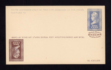 UPSS # MR1E-O Brooks Essay Paid Reply Card, Blue/Brown on Buff