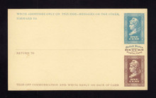 UPSS # MR1E-Ne Brooks Essay Paid Reply Card, Blue/Brown on Canary