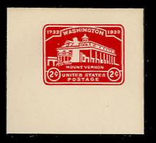 U525a 2c Mount Vernon, Carmine, die 2 rotary, Mint Full Corner