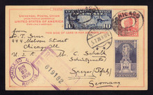 UX37 UPSS# S53 3c International Postal Card, REGISTERED Chicago, IL to Germany 1926