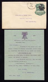 U219 Philadelphia, PA w/Type Writer form Letter From Centennial Exposition