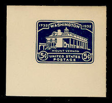 U528 5c Mount Vernon, Dark Blue, Mint Full Corner