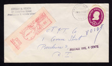 U536 CUT OUT Providence, RI 1962 Postage Due 4c METER