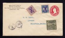 U411 Oshkosh, WI to Sweden Postage Dues w/Label