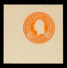 U529 6c Washington Orange on White, Mint Full Corner