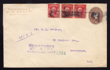 U371 RE-FOLDED Envelope Registered 1905 IA to RI