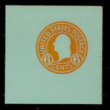 U531 6c Washington Orange on Blue, Mint Full Corner
