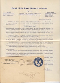 U348 Detroit, MI High School Alumni Assoc Letter