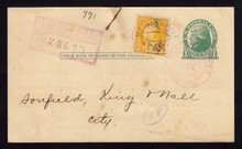 UX27 UPSS# S37Aa 1c Postal Card, REGISTERED Beaumont, TX 1921 with 10c WF