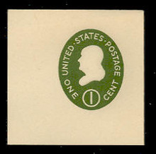 U532b 1c Franklin Green on White, die 3, Mint Full Corner