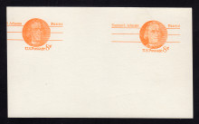 UX66b UPSS# S83ba 8c Samuel Adams Mint Postal Card, Coarse Paper, Double Impression