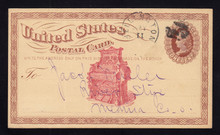 UX3 UPSS# S2 1c Postal Card, Illegal Advertising on Front, Red Organ, 1874